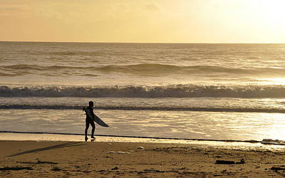 Photograph - Surfer At Sunset  by AJ  Schibig