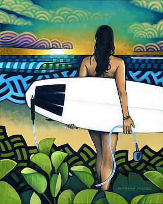 Surfer At Sunset Original