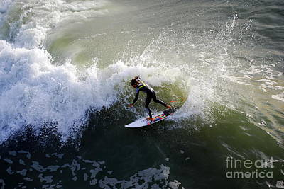 Surfer Boy Riding A Wave Print by Catherine Sherman
