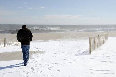 Photograph - Surfer Checking Out Winter Swell In Belmar Nj by Maureen E Ritter