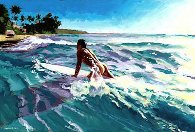 Diamond Head Painting - Surfer Coming In by Douglas Simonson