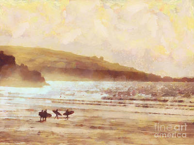 Surf Painting - Surfer Dawn by Pixel Chimp