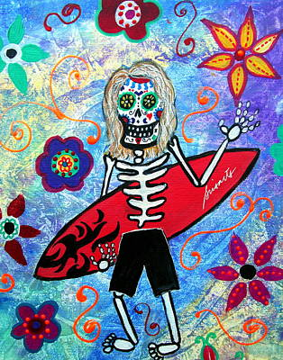 Painting - Surfer Dia De Los Muertos by Pristine Cartera Turkus