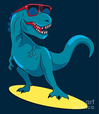 Surfer, Dinosaur, Monster Vector Design Art Print