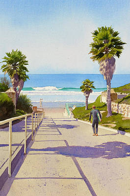 Palm Trees Painting - Surfer Dude At Fletcher Cove by Mary Helmreich