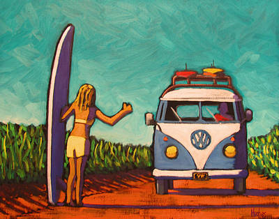 Surfer Girl Painting - Surfer Girl And Vw Bus by Kevin Hughes