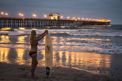 Surfer Girl At Oceanside Pier 1 Art Print