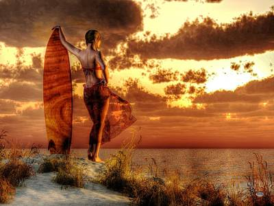 Female Surfer Digital Art - Surfer Girl by Daniel Eskridge