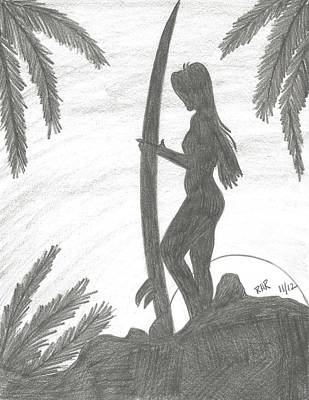 Surfing Drawing - Surfer Girl by Ray Ratzlaff