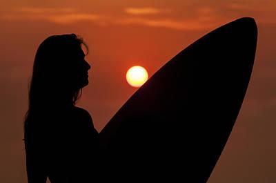 Photograph - Surfer Girl Silhouette by Lee Kirchhevel