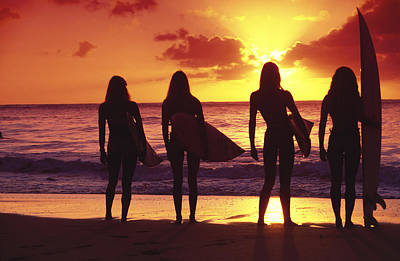 People On Beach Wall Art - Photograph - Surfer Girl Silhouettes by Sean Davey