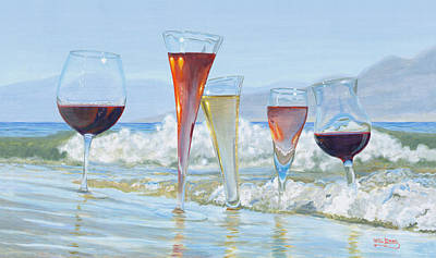 Wine Glass Painting - Surfer Girls by Will Enns