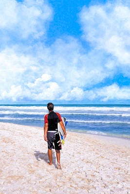 Photograph - Surfer Hunting For Waves At Playa Del Carmen by Mark E Tisdale