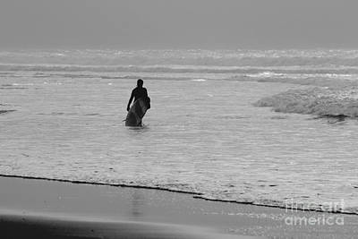 Surfer In The Mist Art Print by Terri Waters