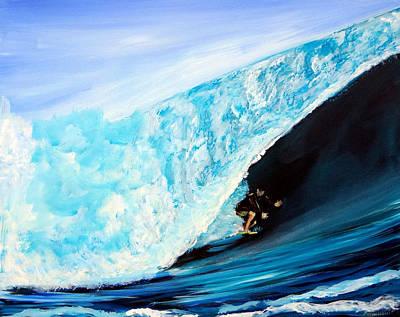 Bondi Painting - Surfer In Tube Ocean Surfing Wave by Katy Hawk