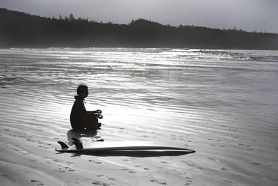Bright Appearance Photograph - Surfer Meditating On Beach, Cox Bay by Deddeda