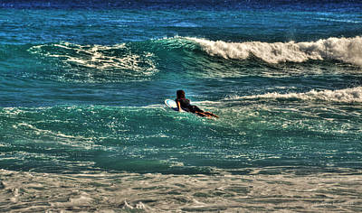 Art Print featuring the photograph Surfer On His Way Up Waves by Julis Simo