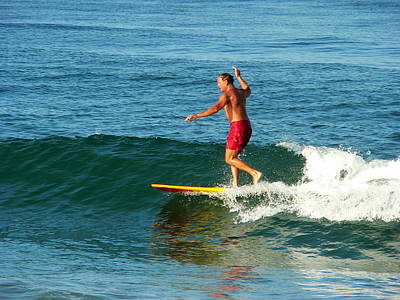 Photograph - Surfer Posing On Board by Jeff Lowe