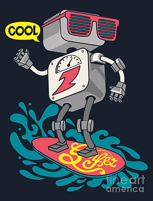 Chrome Wall Art - Digital Art - Surfer Robot Vector Design For Tee by Braingraph