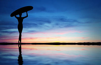 Female Surfer Photograph - Surfer Silhouette by Aged Pixel
