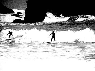 Surfer Silhouette Art Print by Kathy Churchman