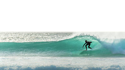 Photograph - Surfer Silhouette On Blue Wave by Nadine Swart