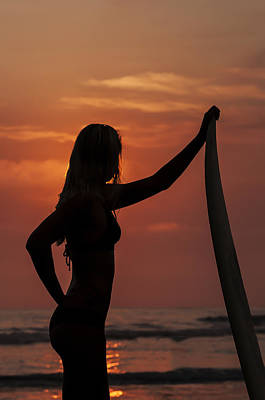 Photograph - Surfer Sunset Silhouette by Lee Kirchhevel