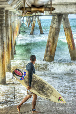 Photograph - Surfer Under The Pier  by David Zanzinger