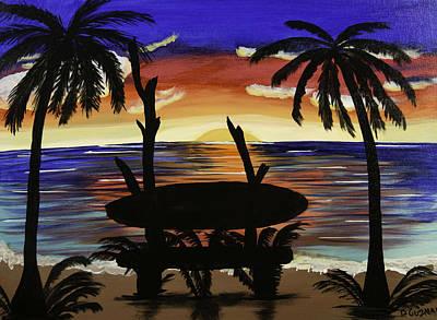 Surfers Bench Original by Donna Guzman