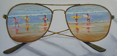Surfers Art Print by Brenda Gordon