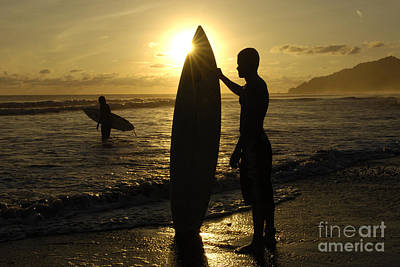 Photograph - Surfers Costa Rica by Bob Christopher