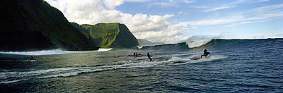 Balance Of Nature Photograph - Surfers In The Sea, Hawaii, Usa by Panoramic Images