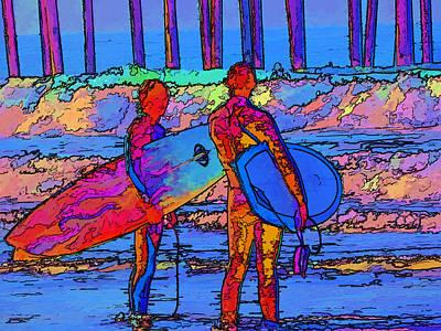 Surfers Art Print by Kathy Churchman