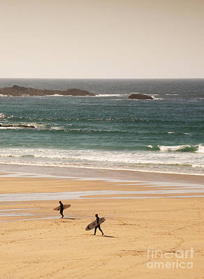 Beach Royalty-Free and Rights-Managed Images - Surfers on beach 01 by Pixel Chimp
