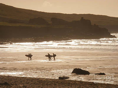 Surfers On Beach 02 Art Print by Pixel Chimp
