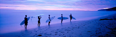 Surfers On Beach Costa Rica Print by Panoramic Images