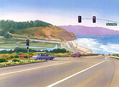 Road Painting - Surfers On Pch At Torrey Pines by Mary Helmreich