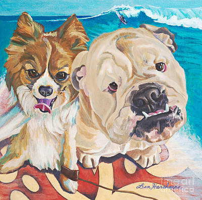 Chiwawa Portrait Wall Art - Painting - Surfin' Dogs Laguna Beach by Lisa Hershman