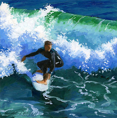 Water Painting - Surfin' Huntington Beach Pier by Alice Leggett