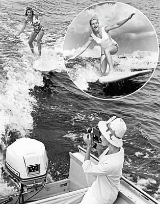 Wakeboard Photograph - Surfing A Power Boat Wake by Underwood Archives