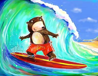 Surfing Bear Art Print by Scott Nelson