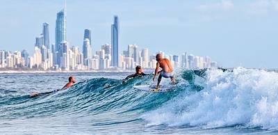 Surfing Burleigh Art Print