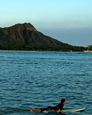 Impressionist Landscapes - Surfing by Diamond Head by Allyson Jones