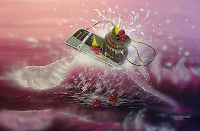 Cupcake Painting - Surfing Cupcake  by Sam Lea