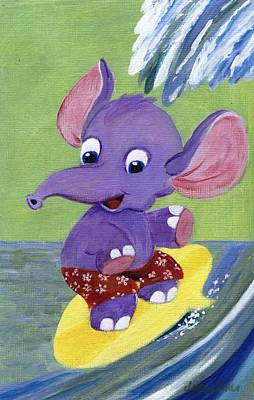Painting - Surfing Elephant by Jamie Frier