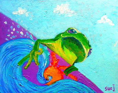 Loose Style Painting - Surfing Froggie by Sue Jacobi