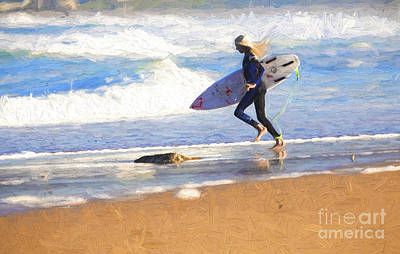 Surf Lifestyle Photograph - Surfing Girl by Avalon Fine Art Photography