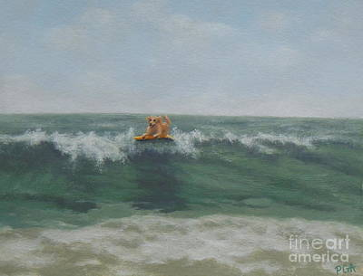 Surfing Golden Art Print
