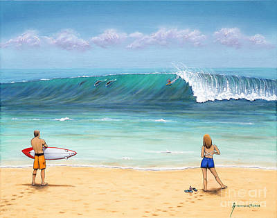 North Sea Painting - Surfing Hawaii by Jerome Stumphauzer