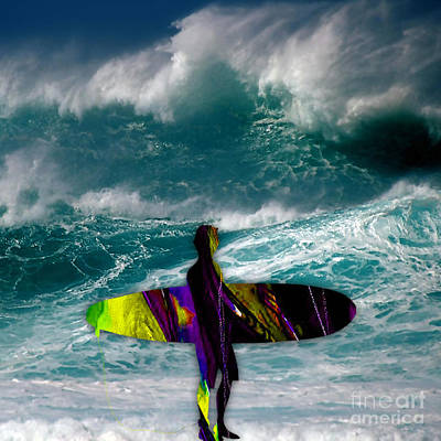 Surfing Art Print by Marvin Blaine